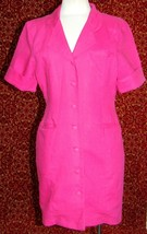 GITANO VINTAGE 90's pink short sleeve button knee coat dress S (T49-0DG8G) - $17.80