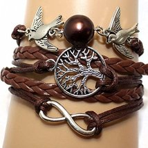 Tree of Life Infinity Beads Bird Silver Charms Leather Bracelet - $8.99