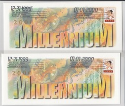 2 Cached USPS 33 cent 3369 New Year's Eve Baby Y2K Millennium Lincoln NE... - $24.87