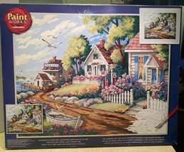 Paint By Number Kit Cottages by the Sea 20x16 PBN Set 91290 Unused in Box - $44.09