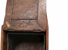 Vintage Antique Oak Wood Box Lid Scuttle Ash Coal Fireplace Liner Hearth Storage image 4
