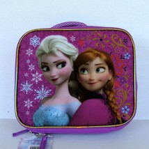 Disney Movie Frozen Elsa Anna Lunchbox School Lunch Box Insulated Glitter  - $9.89