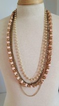 """5 Strand Pink 30"""" Necklace, Goldtone Filigree, Ribbon, Faux Pearls, Crystals, - $4.94"""