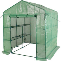 """2 Tier 8 Shelf Steeple Walk in Plant Green House with PE Cover 56.5""""(L) ... - $76.99"""
