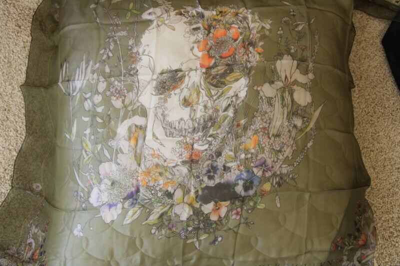 Alexander McQueen 2012  army green floral skull scarf NWT