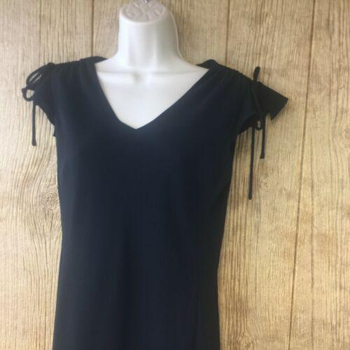 Ann Taylor LOFT Sheath Dress Sz 6 Black Flutter Cap Tie Accent Sleeves Flowy
