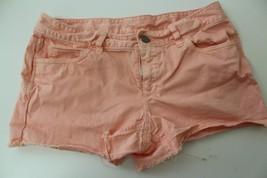 W9456 Womens ANN TAYLOR LOFT Peach Orange Stretch Frayed MINI SHORTS Boo... - $14.50