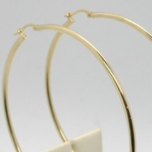 18K YELLOW GOLD ROUND CIRCLE EARRINGS DIAMETER 50 MM, WIDTH 2 MM, MADE IN ITALY image 2