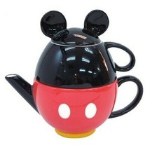 Disney Mickey mouse Tea For One Tea pot & cup Set Coffee pot Black Red J... - $66.33