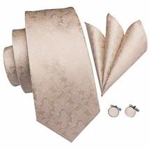 Hi-Tie Champagne Paisley Tie For Men Necktie Pocket Square and Cufflinks Tie Set
