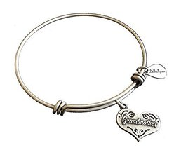 Bella Ryann Grandmother Heart Silver Charm Bangle Bracelet