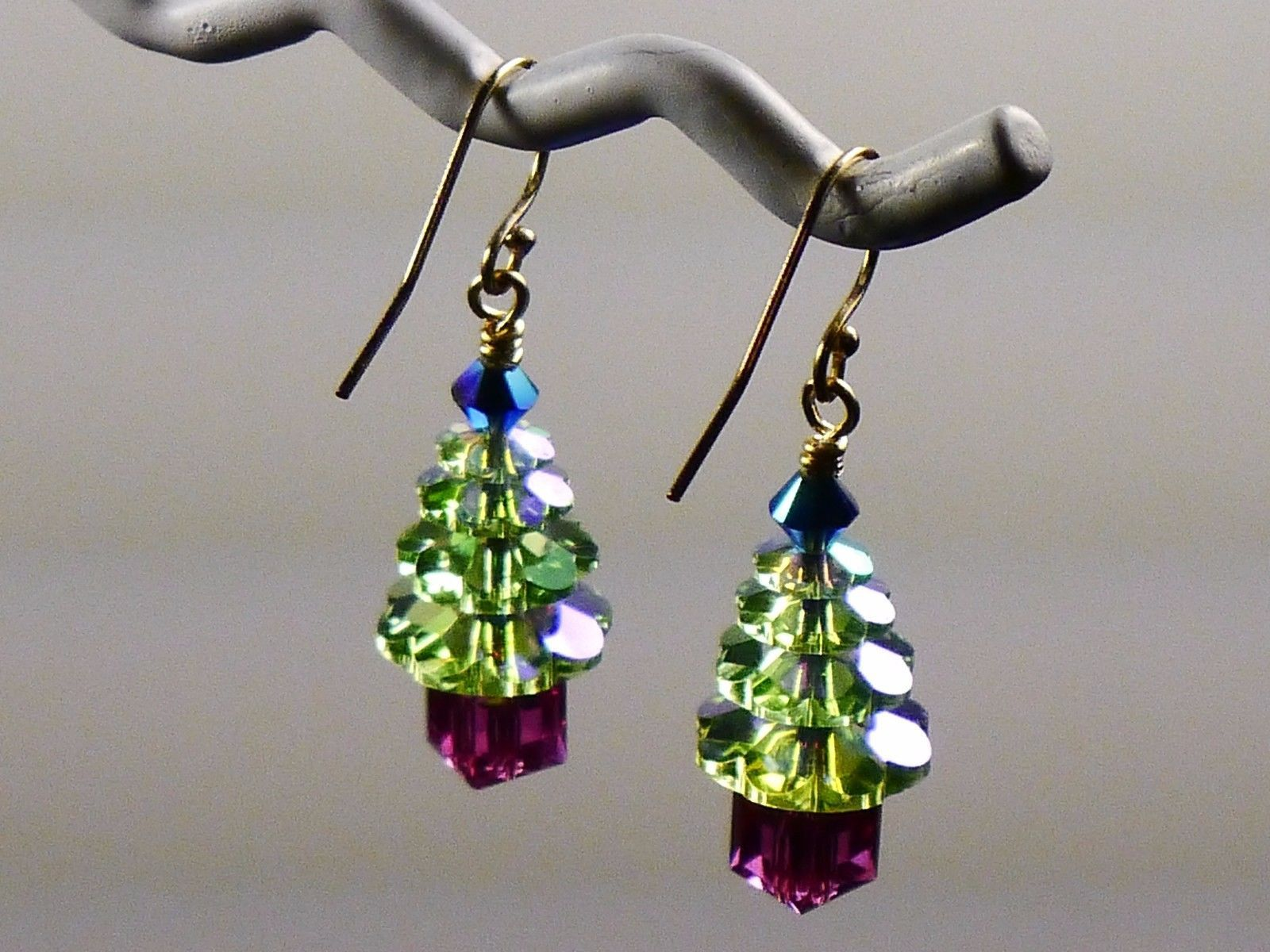Christmas Tree Holiday Earrings/ 1 OF A KIND /made w/Swarovski Crystals/14k Gold image 4