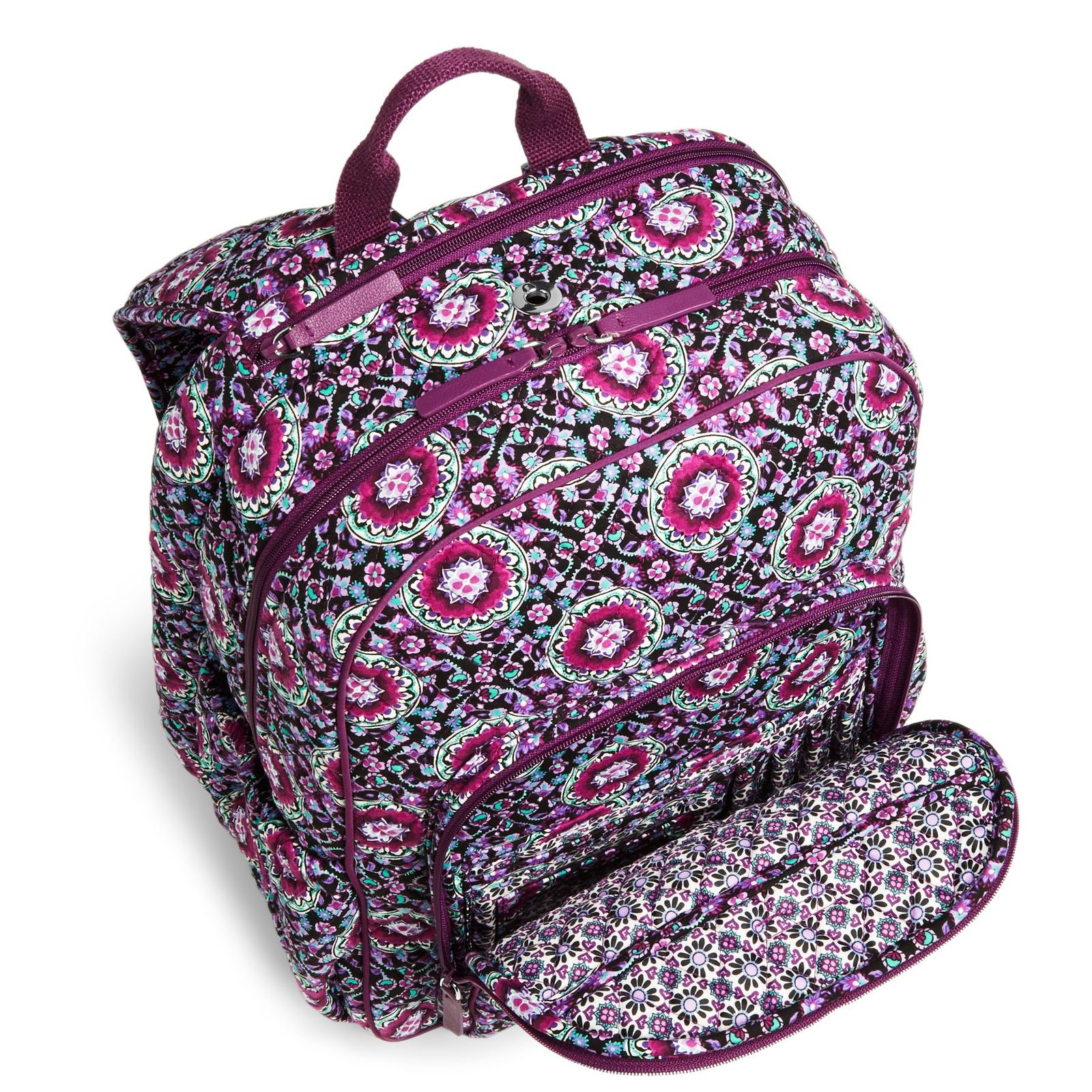 Vera Bradley Signature Cotton Campus Tech Backpack, Lilac Medallion image 4