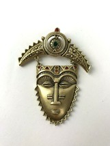 Vtg Avon Pin Brooch With Tribal Mask Face Dangle Red Green Rhinestones Boho - $14.85