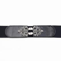 "Women Ladies Black Elasticated Waist Belt Buckle 2 ½"" Waistband Stretch ... - $11.22"