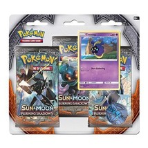 Pokemon Sun & Moon Burning Shadows 3-Pack Booster Blister Pack Cosmog Promo - $15.95