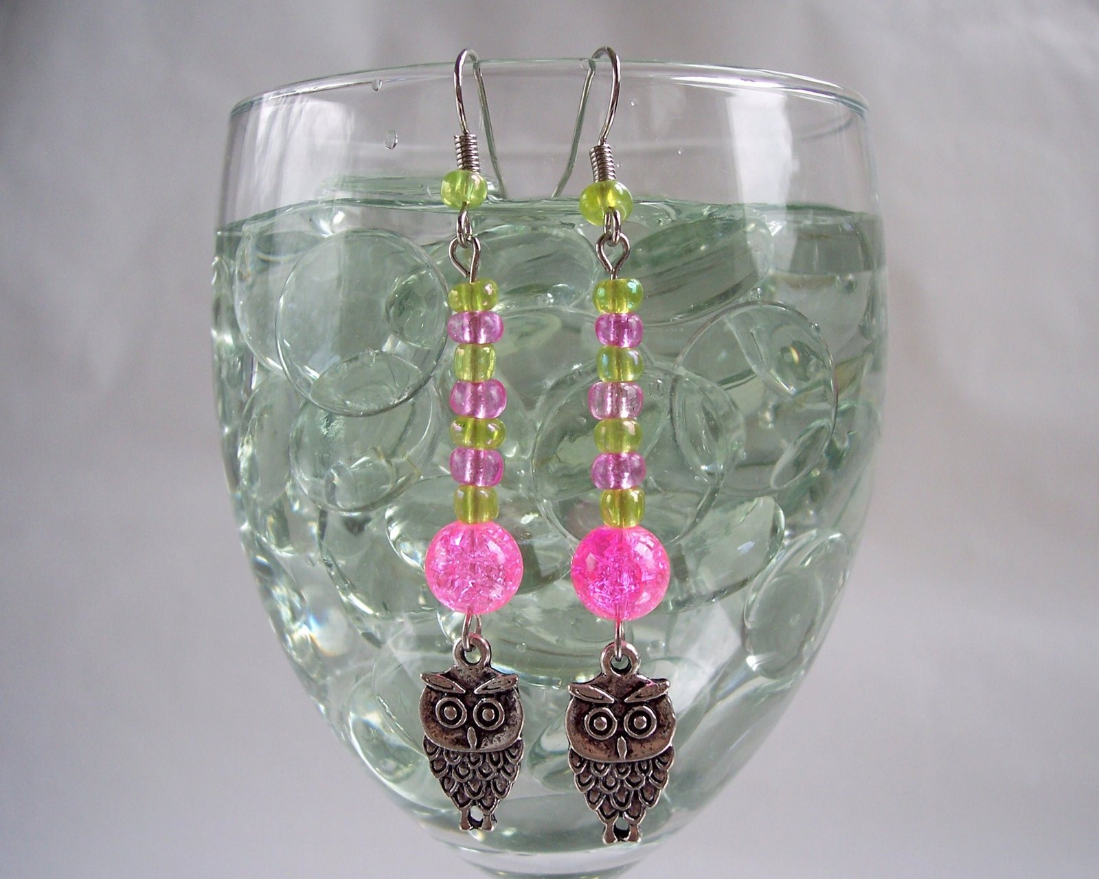 Owl Charm Earrings Green Pink and Silver image 4