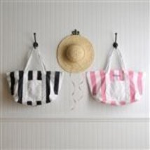 Personalized Candy Striped Black Beach Tote Bag by JDS - $89.74