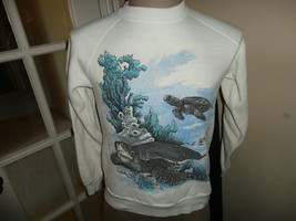 Vtg 80's Sherry White SEA TURTLES 70-30 Crew Sweatshirt Fits Womens XS N... - $43.06