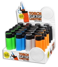 TORCH FLIP TOP LIGHTER REFILLABLE - 1 LIGHTER WITH RANDOM COLOR AND DESIGN