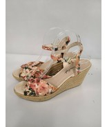 American Eagle Womens Floral Print Wedges White Size 9.5 Heels Sandals  - $29.99