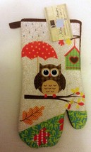 "Fabric Printed Kitchen 13"" Jumbo Oven Mitt, OWL, brown back by BH - $7.91"