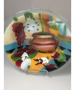 Peggy Karr glass serving bowl Tex Mex Southwestern pasta salad wedding gift - $218.25
