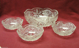 EAPG EARLY AMERICAN PRESSED PATTERN GLASS - DESSERT / BERRY Set - FRUIT ... - $36.95
