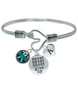 Custom Trigeminal Neuralgia Awareness Never Give Up Bracelet Initial Family - $17.66