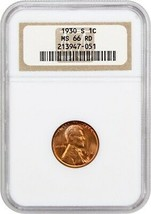 1930-S 1c NGC MS66 RD - Lincoln Cent - $266.75