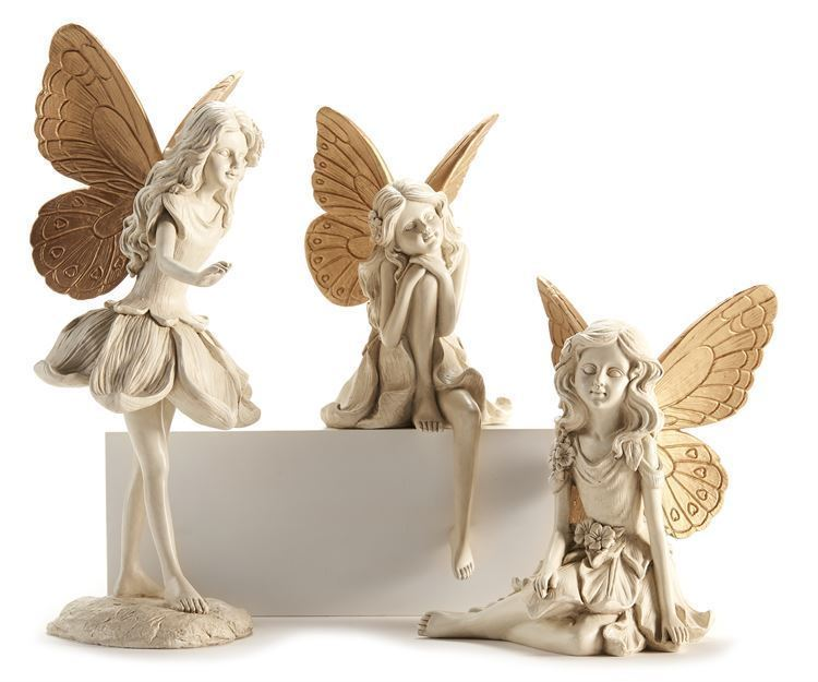 Set of 3  Large Fairy Design Figurines - Cream With Gold Wing Accents