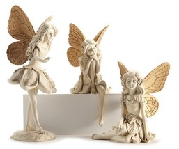 Set of 3  Large Fairy Design Figurines - Cream With Gold Wing Accents  NEW