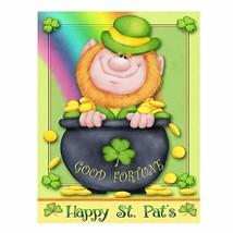 Happy St Patrick's Day Irish Leprechaun Good Fortune Double Sided Garden... - $11.36