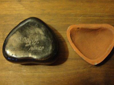 Clay trinket box, sun collectible souvenir older triangular, Mexico
