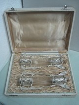 Antique Pair of jars vases glass and silvered metal in original box art ... - $69.76