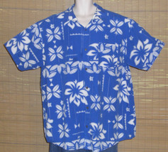 Pineapple Connection Hawaiian Shirt Blue White Floral Size 3XB Big Tall - $24.95