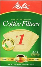 Melitta 620122 #1 Natural Brown Cone Coffee Filters 40 Count PACK OF 7 - $17.77