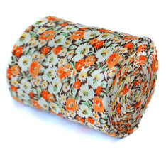 Frederick Thomas mens cotton orange brown tie with floral pattern FT2090