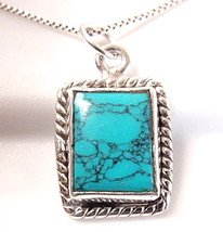 Small Turquoise 925 Sterling Silver Pendant with Rope Style Border Accent - $6.16