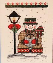 Counted Cross Stitch Kit Caroling Snowman Janlynn Finished 5x7 Frame 2001 NIP - $13.85