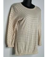 BANANA REPUBLIC Womens Beige Brown White Print Sweater Top XS Extra Smal... - $9.99