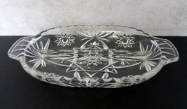Anchor Hocking Star of David Pattern EAPC Oval Relish Divided Tab Handle... - $12.86