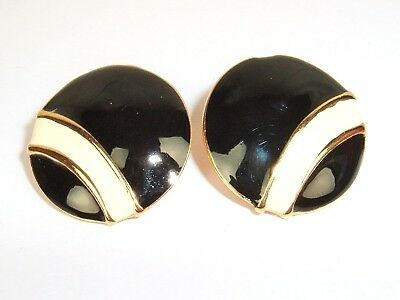 Primary image for Vintage Black Cream gold Tone Round Pierced Post Earrings Mod Geo