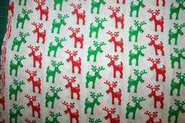 RUDOLPH THE RED NOSED REINDEER IN RED AND GREEN - 100% COTTON FABRIC - $7.91