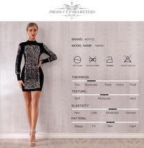 Sexy Black Long Sleeve Sequined Luxury Club Dress image 5
