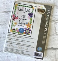 Embroidery Mini Kit Dimensions Live Life With Joy & Love Butterflies #6231 - $9.10