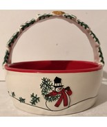 FITZ & FLOYD 2007 HOLIDAY HOME CELEBRATE SNOWMAN BASKET Great For Xmas C... - $12.94