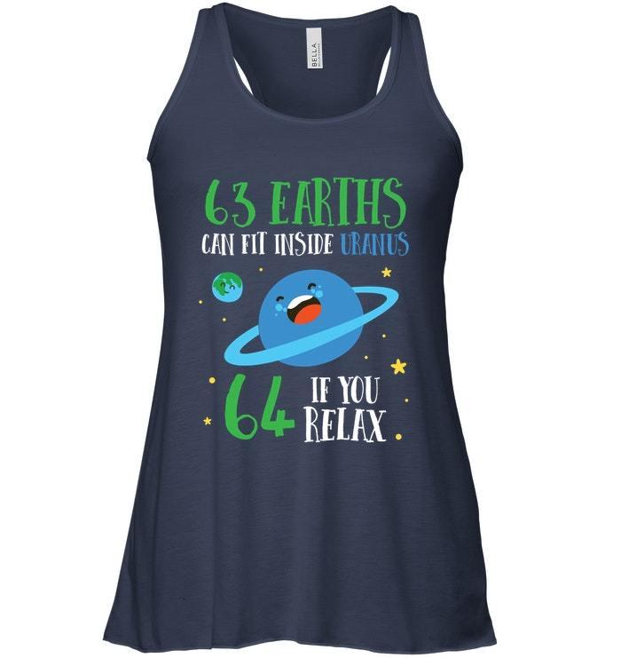 Funny Astronomy 63 Earths Can Fit Inside Uranus Flowy Racerback Tank image 2