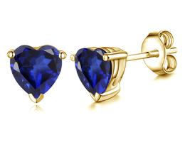 14k Yellow Gold Finish 925 Silver Heart Shape Blue Sapphire Womens Stud Earrings - $35.02