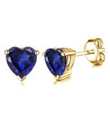 14k Yellow Gold Finish 925 Silver Heart Shape Blue Sapphire Womens Stud ... - $35.02